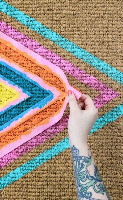 How to: Make a Colorful Geometric Welcome Mat