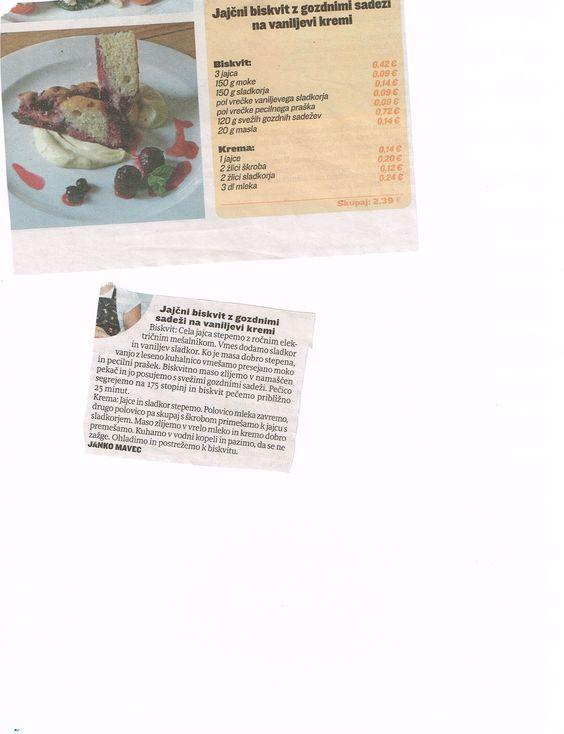 Jajcni biskvit z gozdnimi sadezi na vanilijevi kremi Super recept