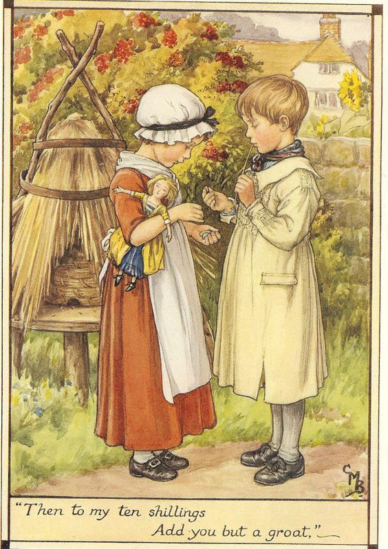 Vintage 1928 Cicely Mary Barker Children's Print Young Boy Smock Young Girl Mob Cap Apron Counting Money Holding Doll Book Plate on Etsy, $12.82:
