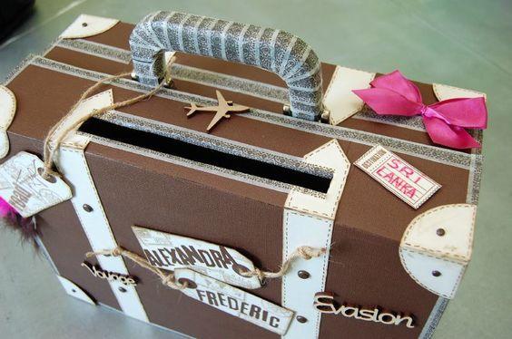 Urne de mariage valise en carton faire soi m me poupee pinterest mariage - Valise carton vintage ...