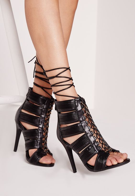 Missguided - Cut Out Lace Up Heeled Gladiator Black