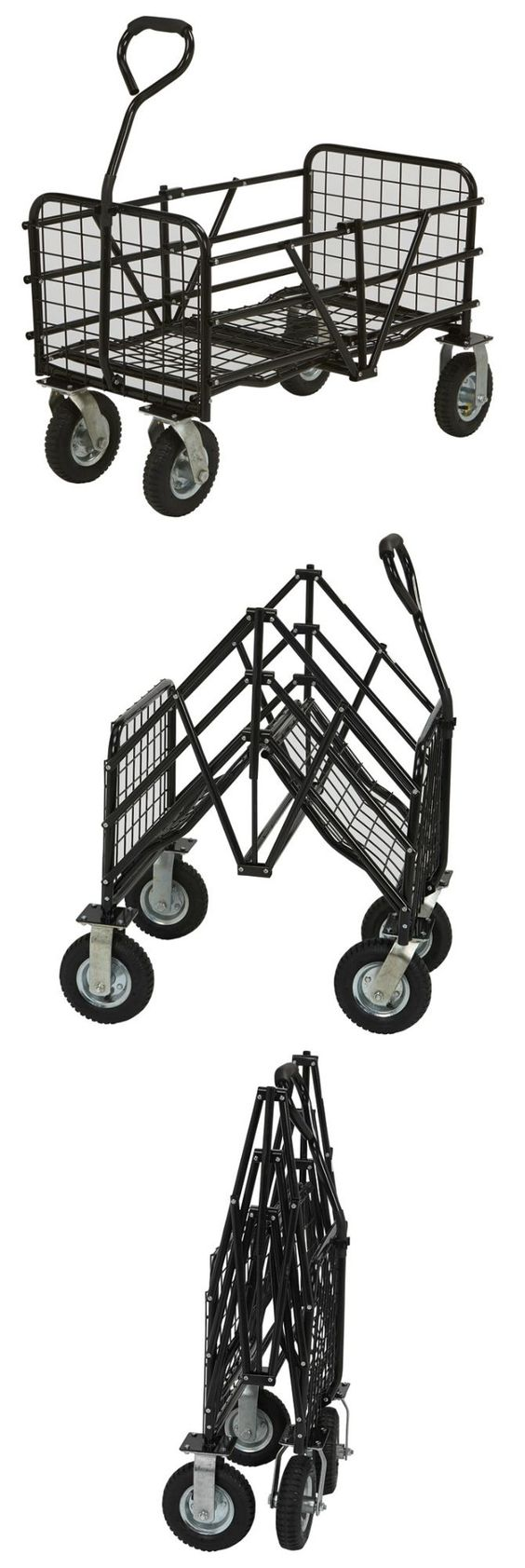 Use this StrongWay Folding Utility Cart to carry anything around the house, garden or warehouse and fold it down for storage when you're done.