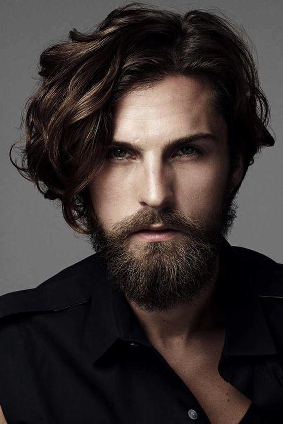 Long Side Swept Hair With Beard Long Hair Beard Long Hair Styles Men Hair And Beard Styles