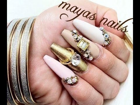 Maquillaje en uñas acrilicas uñas naturales - YouTube