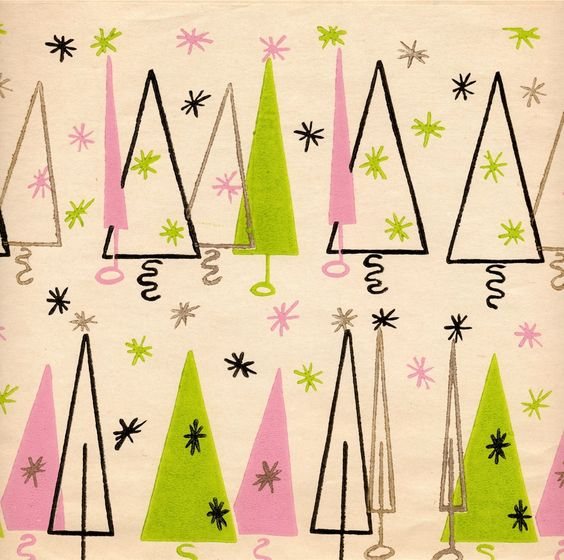 Chartreuse and pink Mid Century Modern wrapping paper