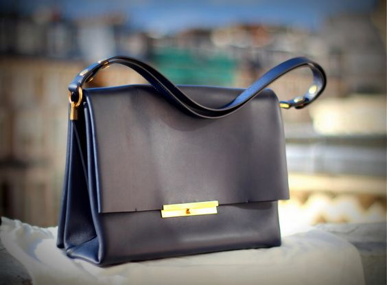 celine grey leather handbag blade