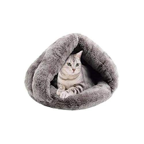 Scgeha ドーム型 ペットハウス ペットベッド 寝袋 クッション 室内用 2カラー グレー 猫 こたつ ペットベッド 猫ハウス