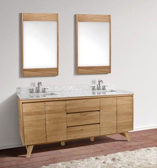 Avanity Coventry Double 73 Inch Natural Teak Vanity Cabinet Optional Countertops Modern Bathroom Vanity Teak Vanity Bathroom Vanities Without Tops