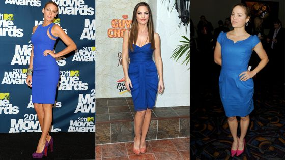 WTF? What's The Fashion? Little Blue Dresses W/ Colored Heels