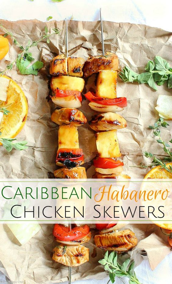 Taste the Caribbean in these citrus habanero chicken skewers... marinated chicken, onions, peppers, and pineapple.. all grilled to smoky charred perfection!: