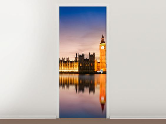 Tür #Tapete Big Ben in der Nacht