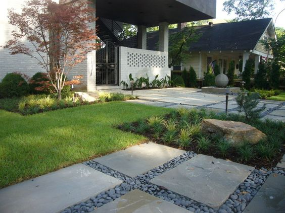 Modern Front Yard Landscaping Walkways With Plants On A 640 x 480