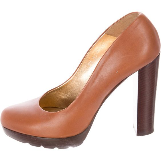 Pre-owned Walter Steiger Leather Platform Pumps ($85) ❤ liked on Polyvore featuring shoes, pumps, brown, round toe platform pumps, walter steiger shoes, leather shoes, brown platform pumps and brown leather shoes