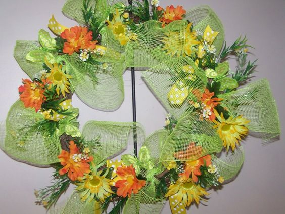 Mesh and Floral wreath
