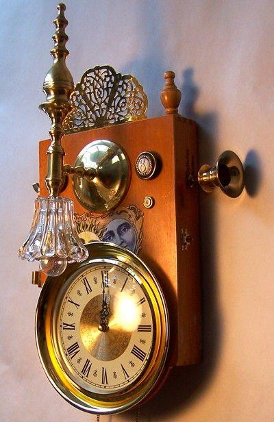 Steampunk wall clock office inspiration pinterest wall clocks bulbs and lights - Steampunk mantle clock ...