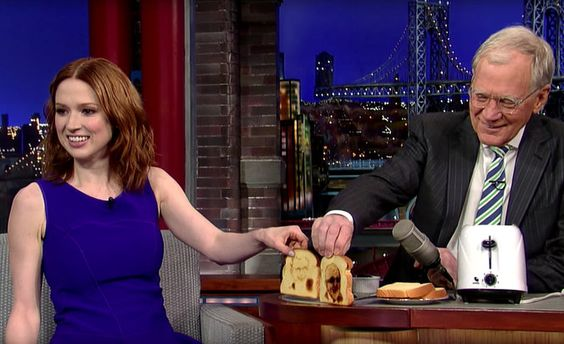 """Ellie Kemper, of """"Unbreakable Kimmy Schmidt,"""" writes of the rigor of talk-show prep, especially when appearing with her hero, David Letterman. Ellie brought Letterman a gift; a Toaster that imprinted Dave's face on one side of the toast and Paul's face on the other side 