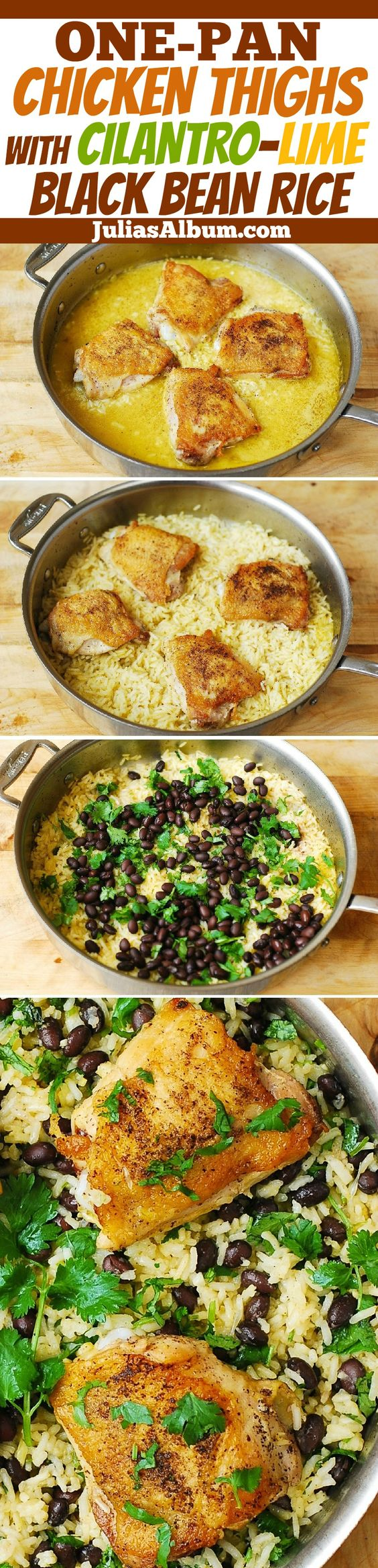 One-Pot Chicken Thighs with Cilantro-Lime Black Bean Rice - delicious, healthy, gluten free dinner! Made on stove-top, in one pot, no need to turn on the oven!