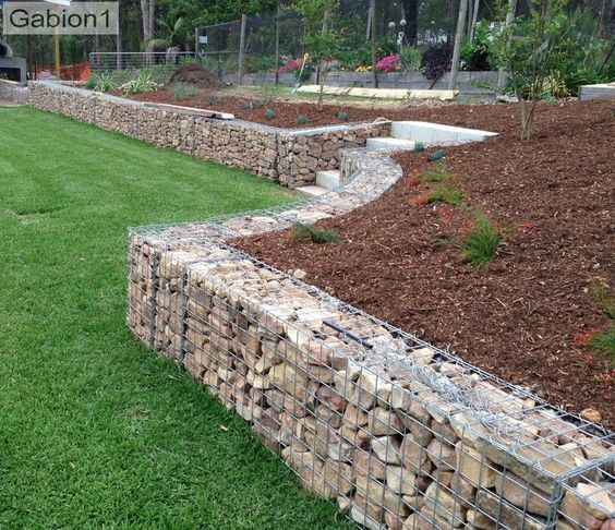 Retaining Wall Stone Cage Fence Landscaping Backyard Fences