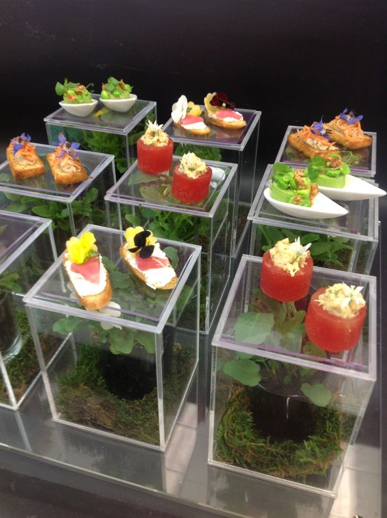Summer canapes on lucite blocks modern love pinterest for Canape display stands