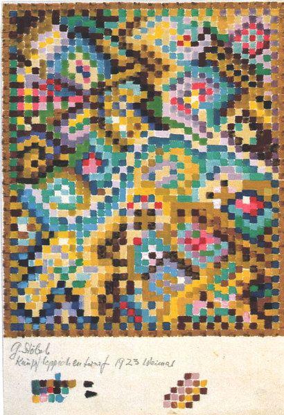 Gunta Stölzl:Design for a Knotted Carpet:Bauhaus Weimar, 1923:29.3x19.5 cm:Staatsgalerie, Stuttgart