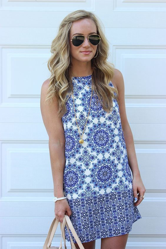 Blue white mosaic dress. Sleeveless shift dress. Resort wear. Spring/Summer 2016. Schedule a Fix for gorgeous pieces like this, hand-selected just for you by your Stitch Fix Stylist!