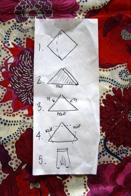 Geniale haremsbukser: Fold, snip, snip, sew! #Tutorial make me a pair! @Zoe James Shepherd ill provide some funky material!