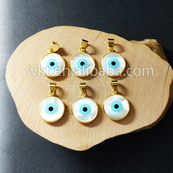 WT-P628 Wholesale Natural shell round evil eye pendant, 24k gold plated bezel eye pendant by WKTjewelry on Etsy