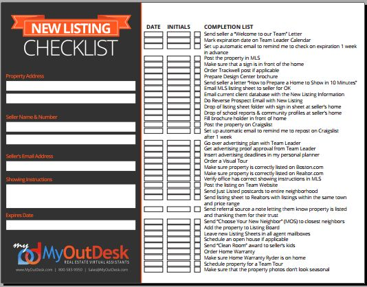 Free new buyer check list new listing check list open for New home selections checklist