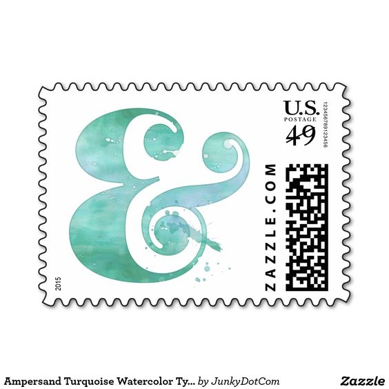Ampersand Turquoise Watercolor Typography Postage Stamp - Sept 14 - 2x