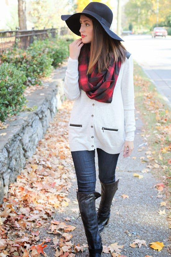 Fall Essentials: floppy hat, oversized scarf, classic sweater, dark wash skinny jeans, statement making boots - check, check, check! #ZapposFashion #CleverGirls