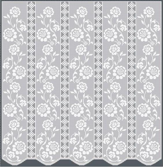 Free Filet Crochet Valance Patterns : Thread Crochet Curtain Pattern Tulip Edging & Insertion ...