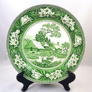 1930s (1931) Wedgwood Green Transferware Fallow Deer Dinner Plate