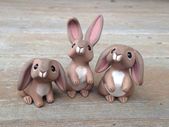 Lapin Handmade miniature polymer clay animaux par AnimalitoClay