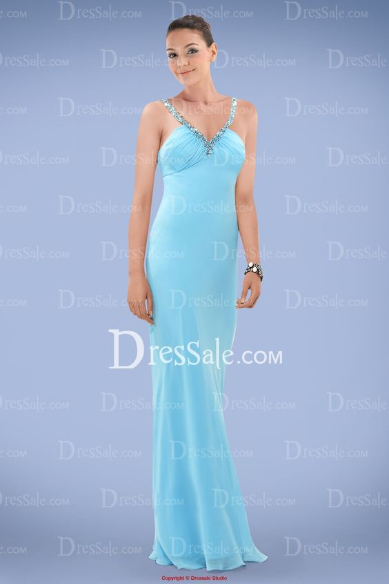 Romantic Chiffon Prom Dress with Beaded and Sequined V-neckline