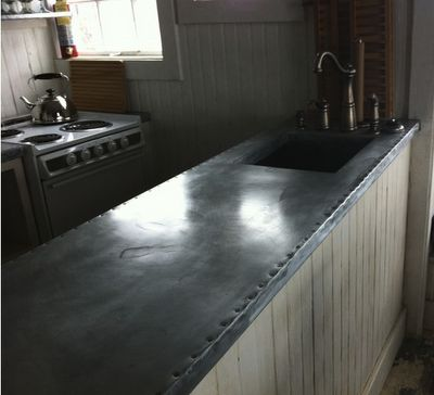 ♅ Dove Gray Home Decor ♅ zinc-wrapped counter tops