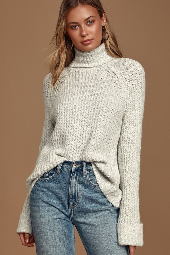 Harvest Moon White Marled Turtleneck Sweater | Turtle neck