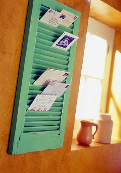 Old shutter into photo/mail holder