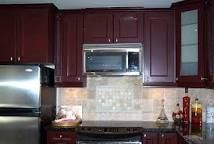Image result for dark red cabinets