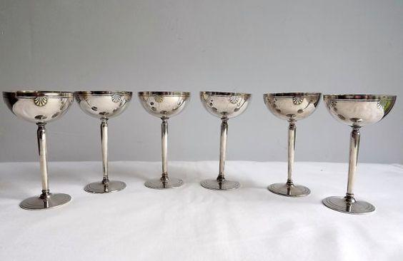 Six French liqueur goblets liqueur cups  silver by MaisonMaudie