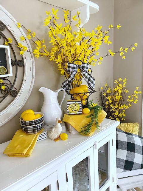 Dining Delight Lemons And Forsythia In Spring Decor Spring Decor Spring Home Decor Summertime Decor