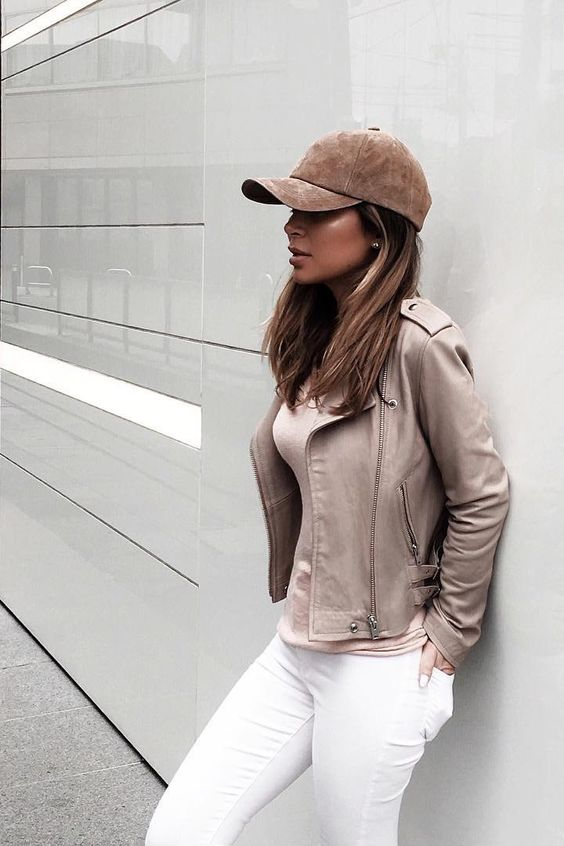 Street style, casual outfit, spring chic, fall chic, beige hat, beige leather jacket, white jeans: