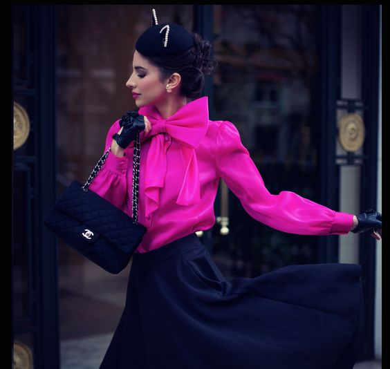 Parisienne Chic - Melissa wearing an Asos Midi-Skirt, Pink Organza Blouse, Chanel Bag and Maison Michel Hat.