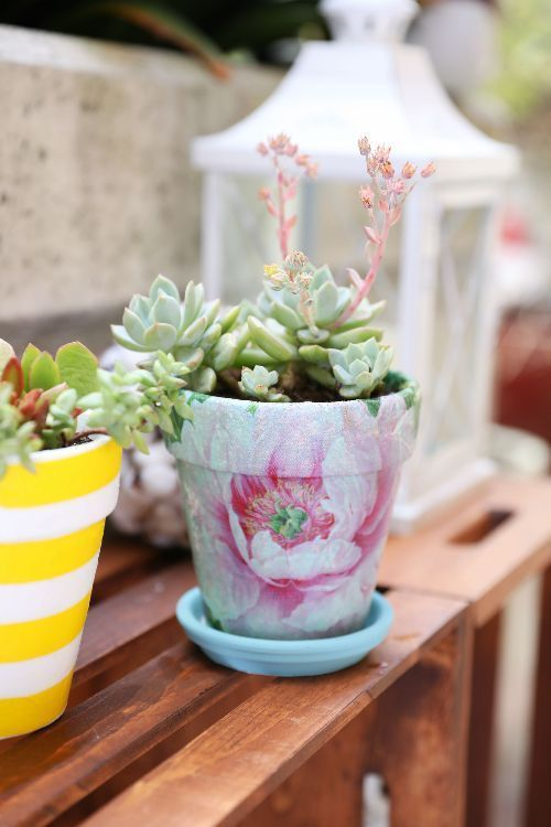 How To Decoupage A Terracotta Pot With Napkins Diy Everywhere Terracotta Pots Diy Napkins Diy Terra Cotta Pots