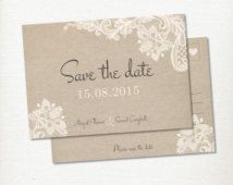 Save the Date Postcard, Lace & Linen Wedding Invitation Engagement  – Print at home – Vintage, Rustic and Romantic