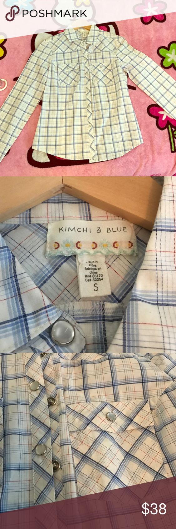 Kimchi & blue woven button up dress shirt White and baby blue with pearl snap buttons, light weight material. New never worn Kimchi Blue Tops Button Down Shirts