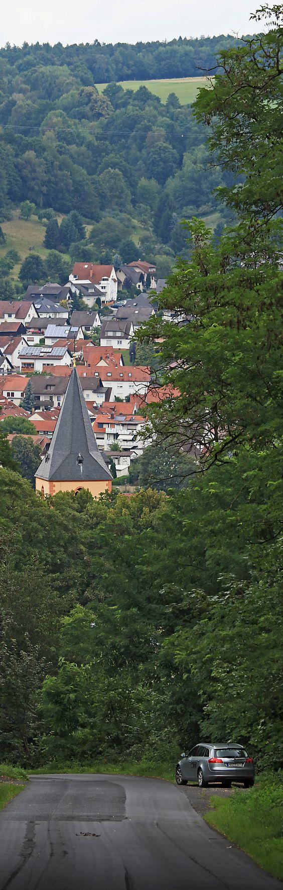 Bad Orb- Blick vom Molkenbergweg zur Altstadt und zur Kirche St. Martin