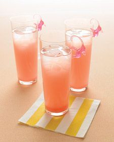 Because this drink has a lot of components, it's helpful to prepare this pink elephant signature cocktail in batches ahead of the wedding reception in a pitcher.: Signature Cocktail, Grapefruit Juice, Cranberry Juice, Pink Elephants