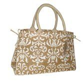 Natural & Cream Damask Jute Handbag
