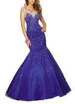 Harshori Sweetheart Mermaid Cap Sleeves Purple Beaded Evening Gowns $159.99