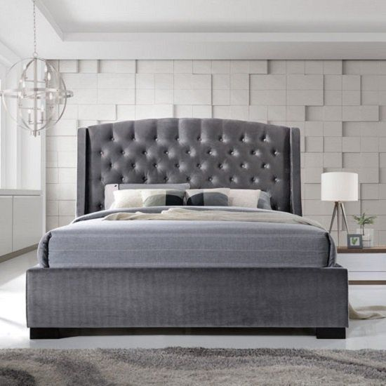 Epsilon King Size Bed In Dark Grey Velvet Fabric Furniture In